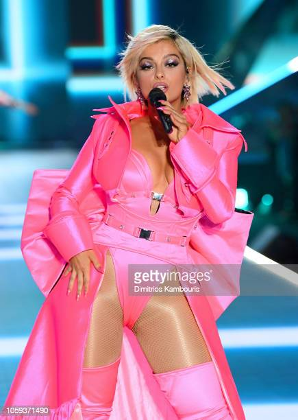 Bebe Rexha performs on the runway during the 2018 Victoria's Secret Fashion Show at Pier 94 on November 8 2018 in New York City