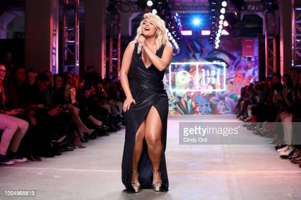 Bebe Rexha performs on the runway for e1972 during New York Fashion Week on February 08 2020 in New York City
