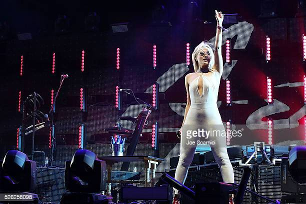 Bebe Rexha performs onstage at Stagecoach 2016 during a Bud Light Music Stage Moment at The Empire Polo Club on April 29 2016 in Indio California