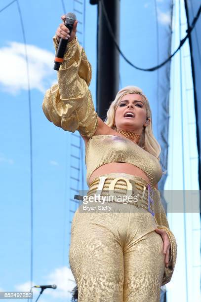 Bebe Rexha performs onstage during the Daytime Village Presented by Capital One at the 2017 HeartRadio Music Festival at the Las Vegas Village on...