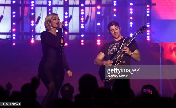 Bebe Rexha performs onstage with Andrew Taggart of The Chainsmokers during 2019 1035 KTU KTUphoria presented by Pepsi at Northwell Health at Jones...