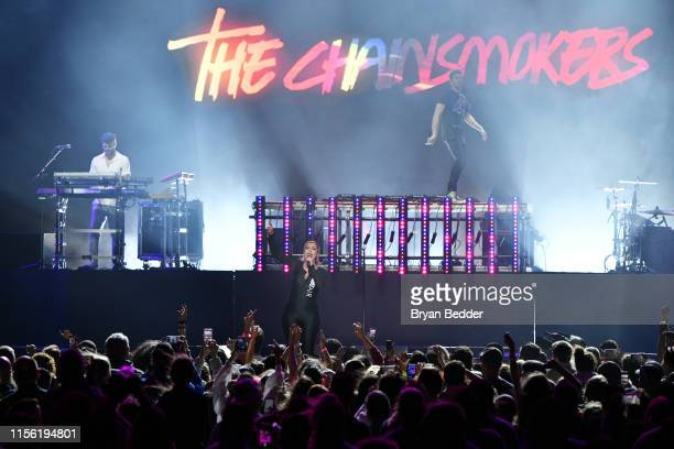Bebe Rexha performs with Alex Pall and Andrew Taggart of The Chainsmokers during 2019 1035 KTU KTUphoria presented by Pepsi at Northwell Health at...