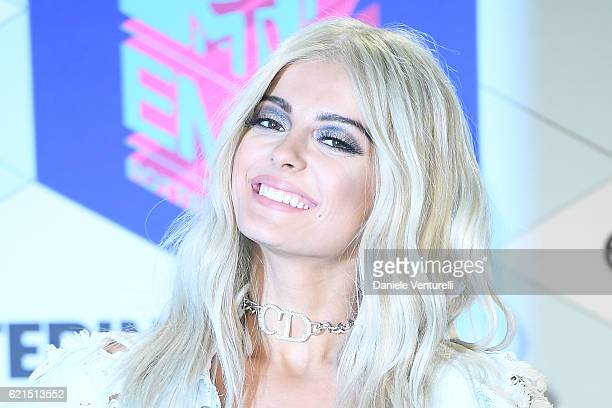 Bebe Rexha poses in the winners room at the MTV Europe Music Awards 2016 on November 6 2016 in Rotterdam Netherlands