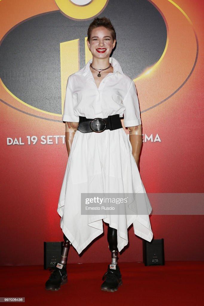 Bebe Vio attends the 'Gli Incredibili 2' photocall at Hotel De Russie on July 12, 2018 in Rome, Italy.