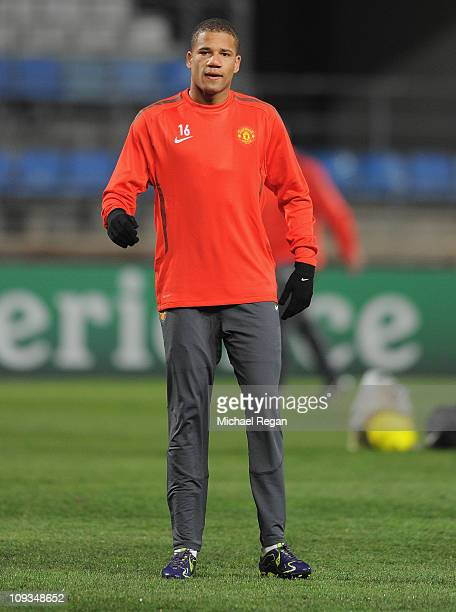 Bebe warms up during the Manchester United training session ahead of the UEFA Champions League round of 16 first leg match against Marseille at the...