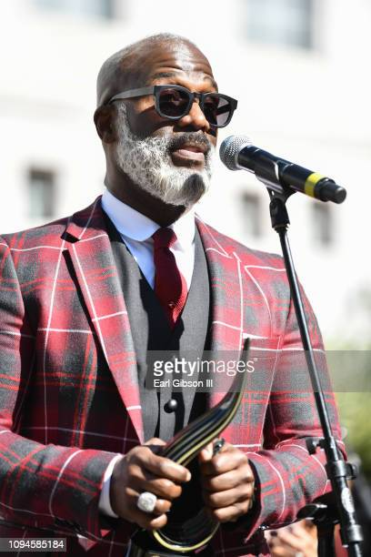 BeBe Winans is honored with the Living Legend Award for AfricanAmerican Heritage Month at Los Angeles City Hall on February 6 2019 in Los Angeles...
