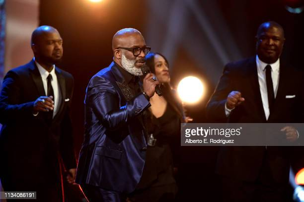 Bebe Winans performs onstage at AllStar Lineup Pays Tribute At 'Aretha A GRAMMYCelebration For The Queen Of Soul at The Shrine Auditorium on...