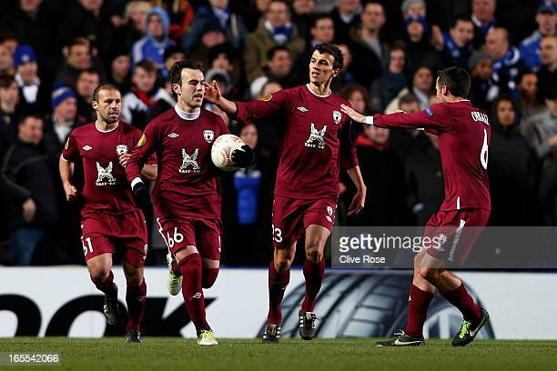 Bebras Natcho of Rubin Kazan is congratulated by teammates after scoring a goal from the penalty spot during the UEFA Europa League quarter final...