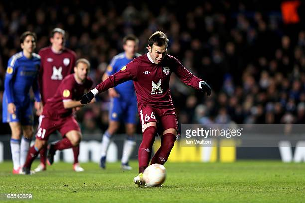 Bebras Natcho of Rubin Kazan scores from the penalty spot to make the scores 21 during the UEFA Europa League quarter final first leg match between...