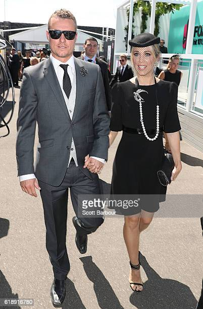 Bec and Lleyton Hewitt arrive at the Lavazza Marquee on Derby Day at Flemington Racecourse on October 29 2016 in Melbourne Australia