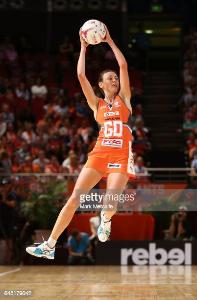Bec Bulley of the Giants in action during the round two Super Netball match between the Giants and the West Coast Fever at Qudos Bank Arena on...
