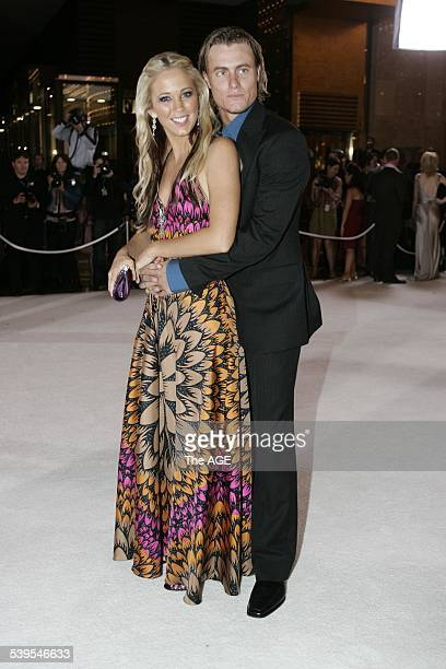 Bec Cartwright and Lleyton Hewitt arriving at the Logies at Crown Casino Melbourne 1 May 2005 The AGE Picture by ANGELA WYLIE