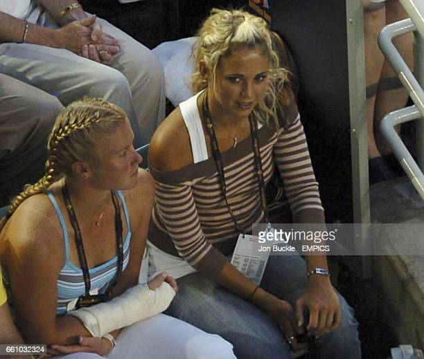 Bec Cartwright from Home and away watches Lleyton Hewitt during his five set match against David Nalbandian