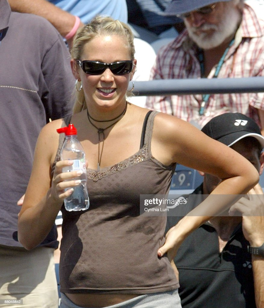 Bec Cartwright, Lleyton Hewitt's wife watching his match against Jose Acasuso in the second round of the 2005 US Open at the USTA National Tennis Center in Flushing, New York on September 2, 2005.