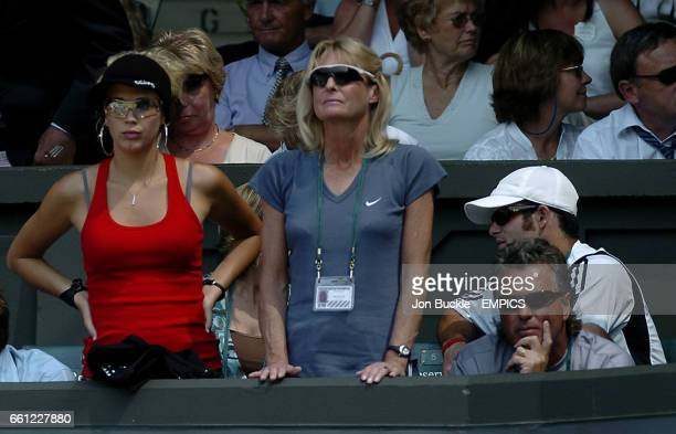 Bec Cartwright watches on with Mr and Mrs Hewitt as Lleyton Hewitt playsTaylor Dent
