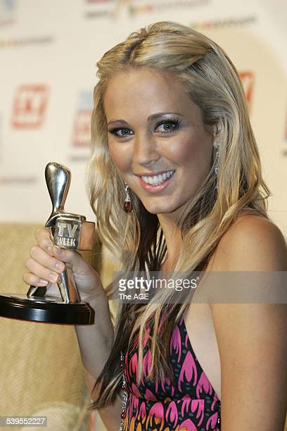 Bec Cartwright with her award at the Logies at the Crown Casino in Melbourne 1 May 2005 THE AGE Picture by ANGELA WYLIE