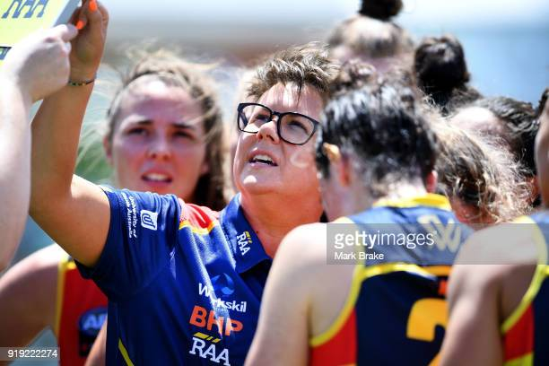 Bec Goddard Adelaide Crows coach at quarter time during the round three AFLW match between the Adelaide Crows and the Western Bulldogs at Norwood...