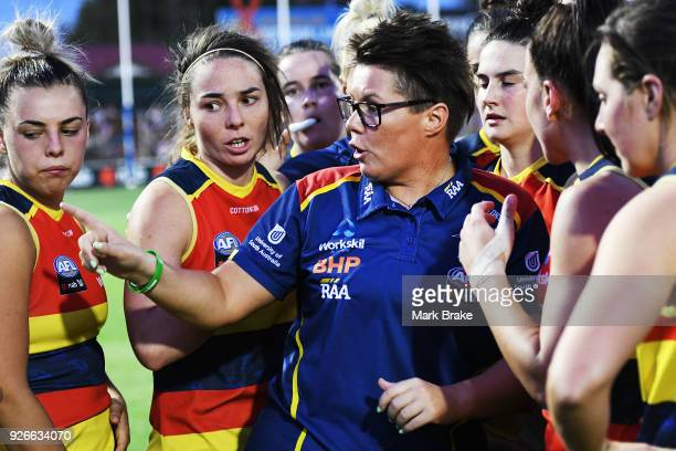 Bec Goddard Adelaide Crows coach at three quarter time break during the round five AFLW match between the Adelaide Crows and the Carlton Blues at...