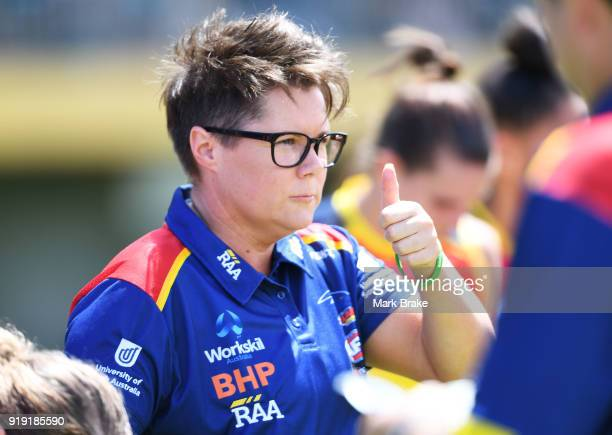 Bec Goddard Adelaide Crows coach during the round three AFLW match between the Adelaide Crows and the Western Bulldogs at Norwood Oval on February 17...