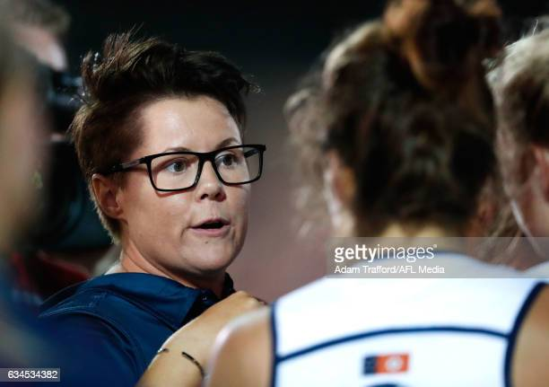 Bec Goddard Senior Coach of the Crows addresses her players during the 2017 AFLW Round 02 match between the Western Bulldogs and the Adelaide Crows...