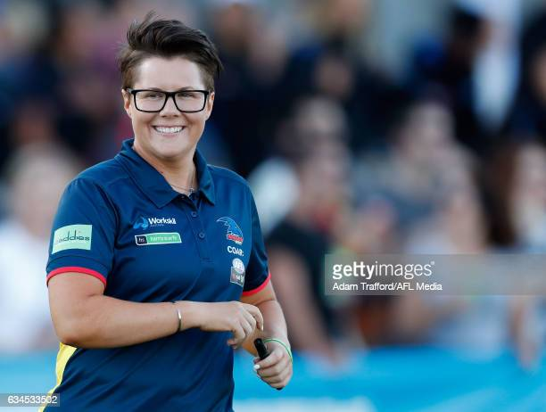 Bec Goddard Senior Coach of the Crows looks on during the 2017 AFLW Round 02 match between the Western Bulldogs and the Adelaide Crows at VU Whitten...