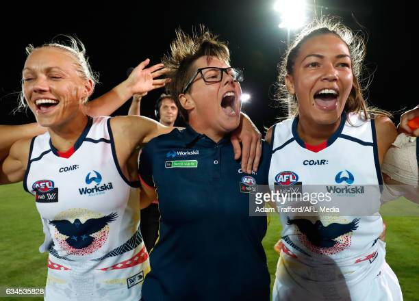Bec Goddard Senior Coach of the Crows sings the team song during the 2017 AFLW Round 02 match between the Western Bulldogs and the Adelaide Crows at...