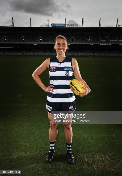 Bec Goring poses during the Geelong Cats AFLW Leadership Announcement at GMHBA Stadium on December 13 2018 in Geelong Australia