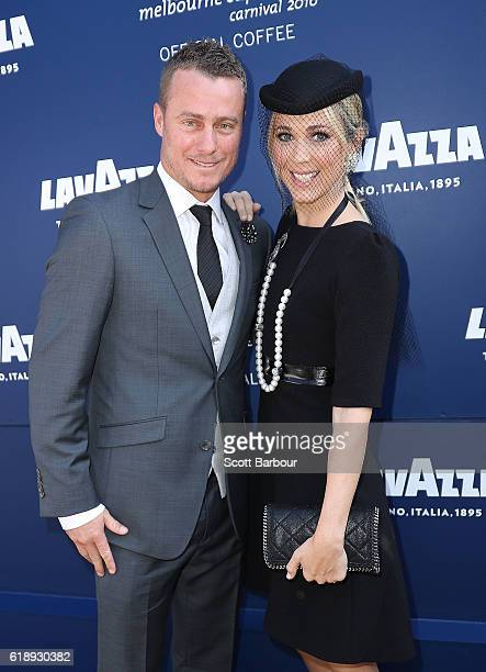 Bec Hewitt and Lleyton Hewitt arrive at the Lavazza Marquee on Derby Day at Flemington Racecourse on October 29 2016 in Melbourne Australia