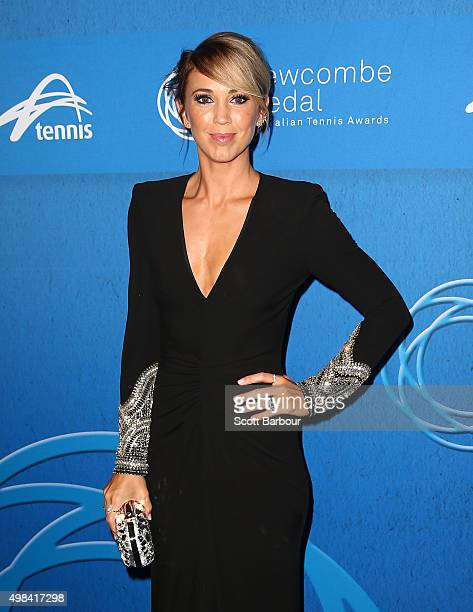 Bec Hewitt arrives at the 2015 Newcombe Medal at Crown Palladium on November 23 2015 in Melbourne Australia