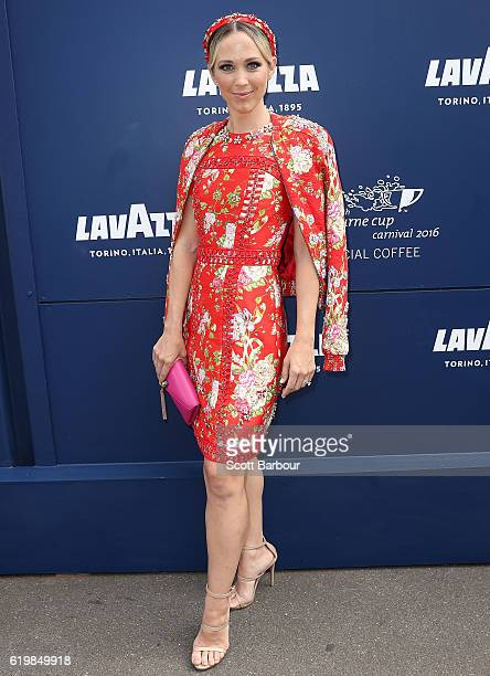 Bec Hewitt arrives at the Lavazza Marquee on Melbourne Cup Day at Flemington Racecourse on November 1 2016 in Melbourne Australia
