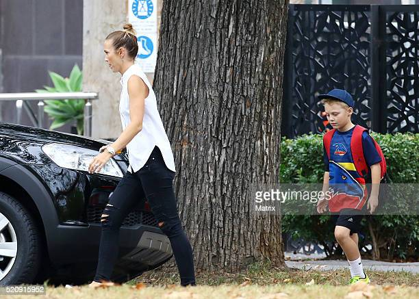 Bec Hewitt is seen at Malvern Central shopping centre watching her daughter's Mia and Ava walk the Kidswear runway as part of the Virgin Australia...