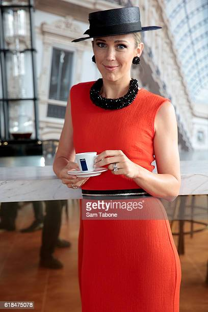 Bec Hewitt poses at the Lavazza marquee at the Birdcage Enclosure at Flemington Racecourse on October 27 2016 in Melbourne Australia