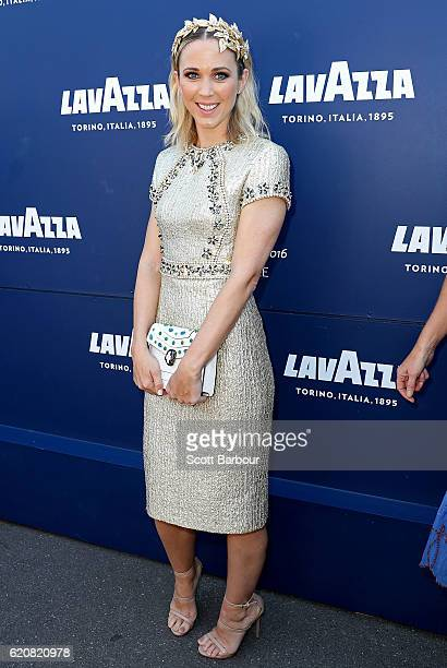 Bec Hewitt poses at the Lavazza Marquee on Oaks Day at Flemington Racecourse on November 3 2016 in Melbourne Australia