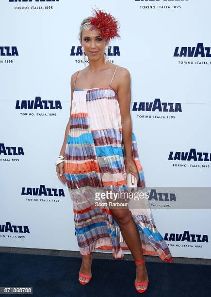 Bec Hewitt poses at the Lavazza Marquee on Oaks Day at Flemington Racecourse on November 9 2017 in Melbourne Australia
