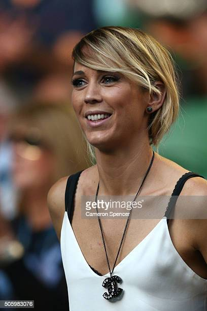 Bec Hewitt the wife of Lleyton Hewitt of Australia looks on before his second round match against David Ferrer of Spain during day four of the 2016...