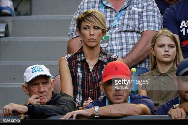 Bec Hewitt wife of Lleyton Hewitt of Australia watches his first round match against James Duckworth of Australia during day two of the 2016...