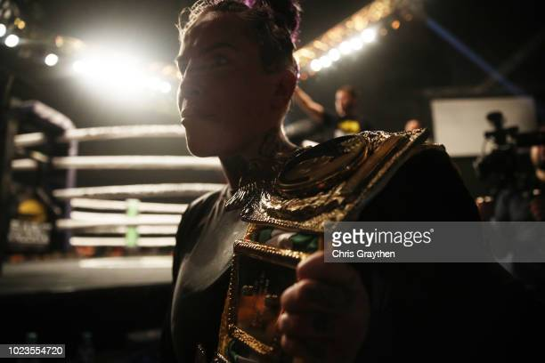 Bec Rawlings celebrates after defeating Britain Hart during the Bare Knuckle Fighting Championship 2 A New Era at Mississippi Coast Coliseum on...