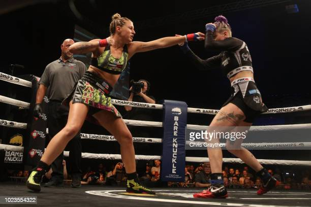 Bec Rawlings fights Britain Hart during the Bare Knuckle Fighting Championship 2 A New Era at Mississippi Coast Coliseum on August 25 2018 in Biloxi...