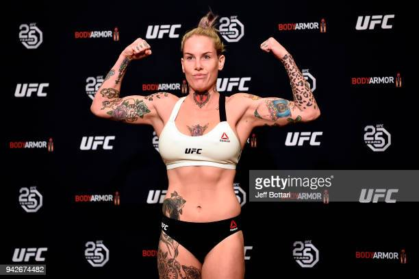 Bec Rawlings of Australia poses on the scale during the UFC 223 official weighins on April 6 2018 in Brooklyn New York