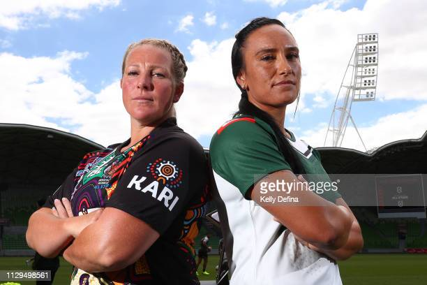 Bec Young of Indigenous Women's All Stars and Krystal Rota of the New Zealand Maori Ferns pose for a portrait during the NRL All Stars Media...