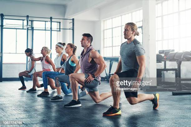 because a good body doesn't happen by accident - circuit training stock photos and pictures