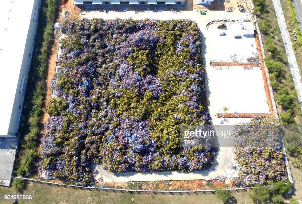 Because of over capacity launchingover ten thousand bicycle sharing were abandoned at a bicycle burial ground on 13th January 2018 in Xiamen Fujian...