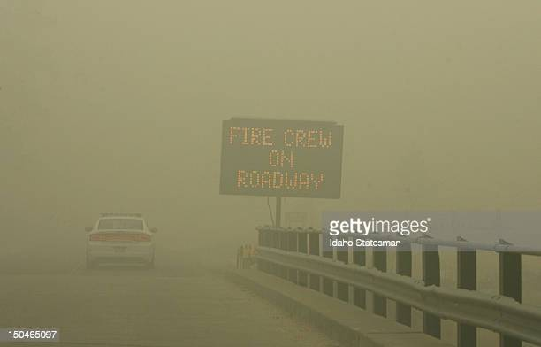Because of such poor visibility and health concerns Elmore County Sheriff's deputies issued mandatory evacuation orders to residents of Featherville...