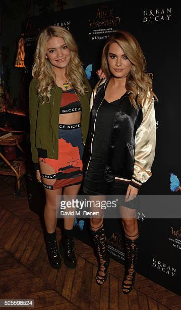 Becca Dudley and Chloe Lloyd attend Urban Decay VIP dinner #UDinWonderland at Sketch on April 28 2016 in London England