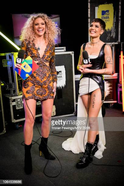 Becca Dudley and Halsey during the MTV EMAs 2018 at Bilbao Exhibition Centre on November 04 2018 in Bilbao Spain