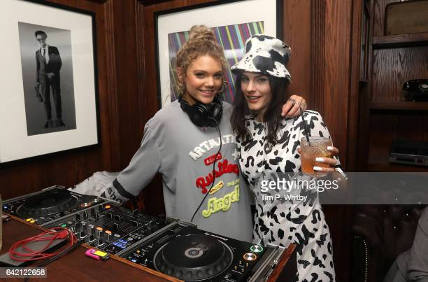 Becca Dudley and Lola Cola pose for a photo at the Model Village Launch for the GameChanging Influencer App at Little Tape on February 16 2017 in...