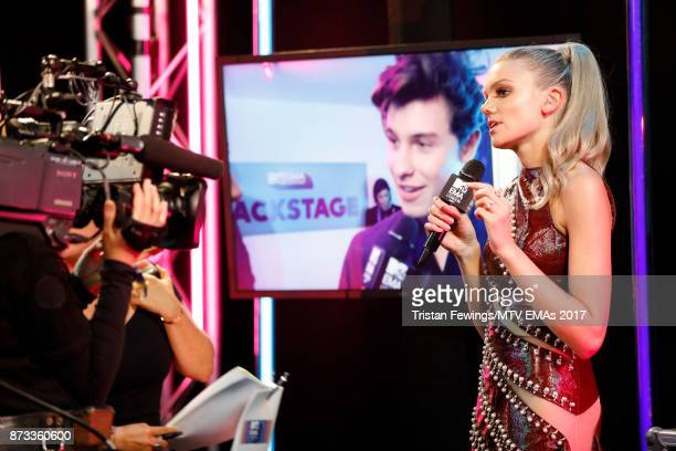 Becca Dudley backstage during the MTV EMAs 2017 held at The SSE Arena Wembley on November 12 2017 in London England
