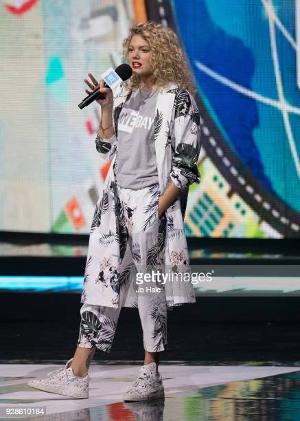 Becca Dudley on stage at We Day UK at Wembley Arena on March 7 2018 in London England