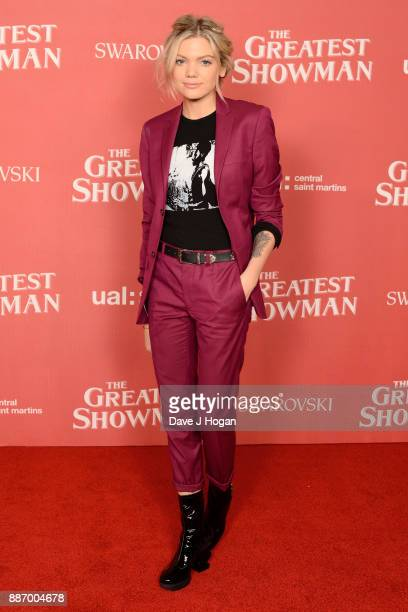 Becca Dudley poses during 'The Greatest Showman' Central Saint Martins collection showcase at Claridges Hotel on December 6 2017 in London England
