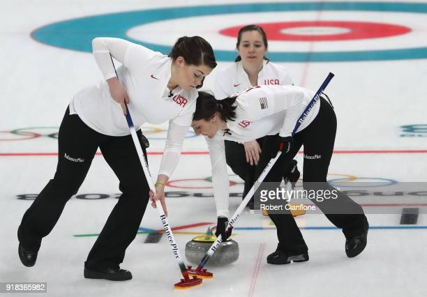 Becca Hamilton Aileen Geving and Tabitha Peterson of the United States compete during the Curling Women's Round Robin Session 2 held at Gangneung...